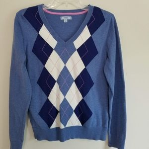 IZOD Women's Blue & White Diamond V-Neck Sweater